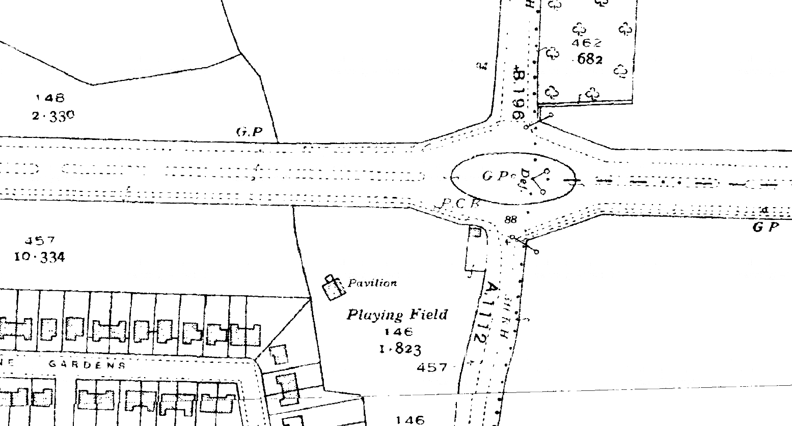 K19--Moby Dick Roundabout, Chadwell Heath Box--1938-1939 OS Map Extract 1-2500.png