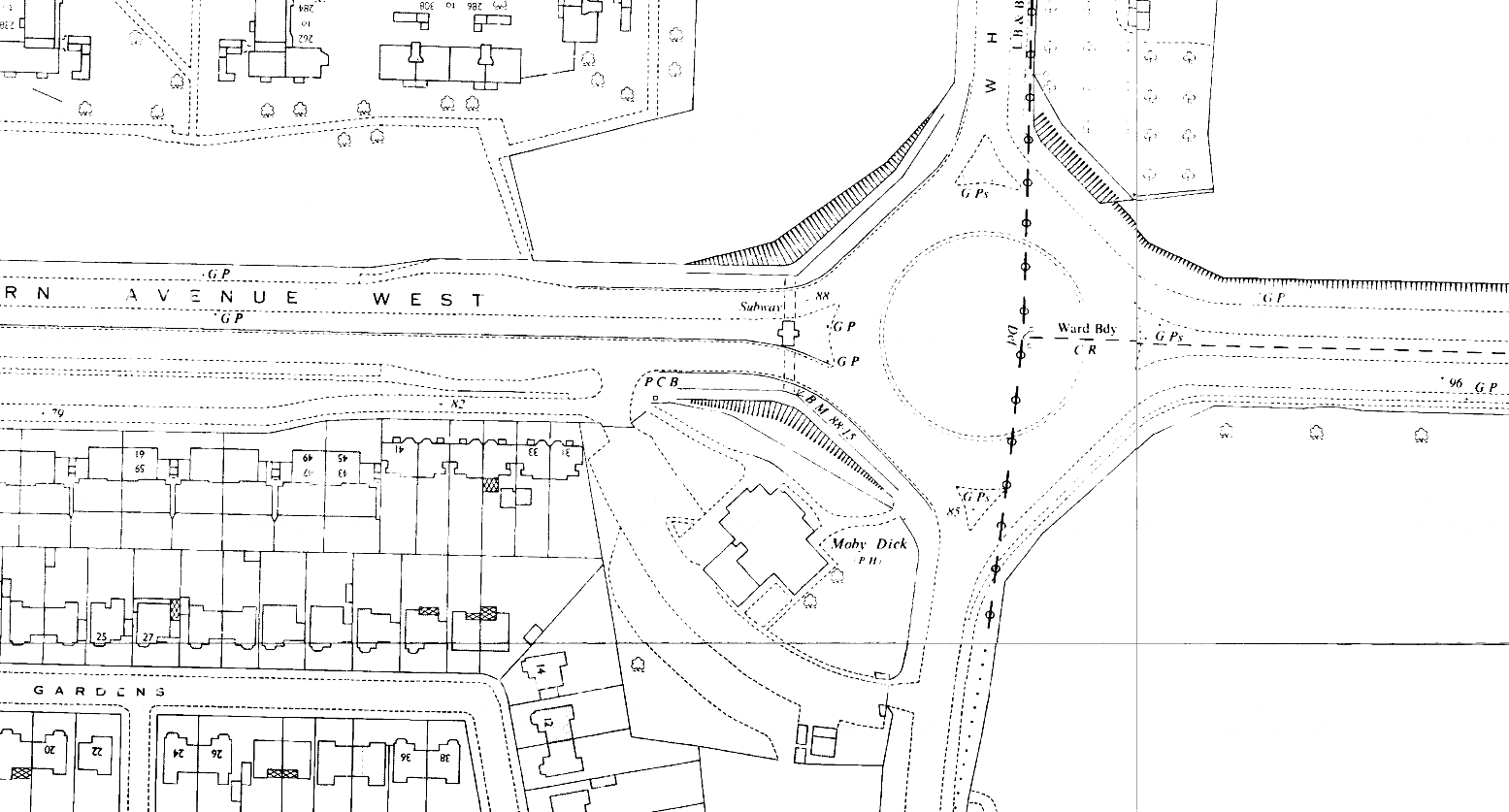 K19--Moby Dick Roundabout, Chadwell Heath Box--1963 OS Map Extract 1-1250.png
