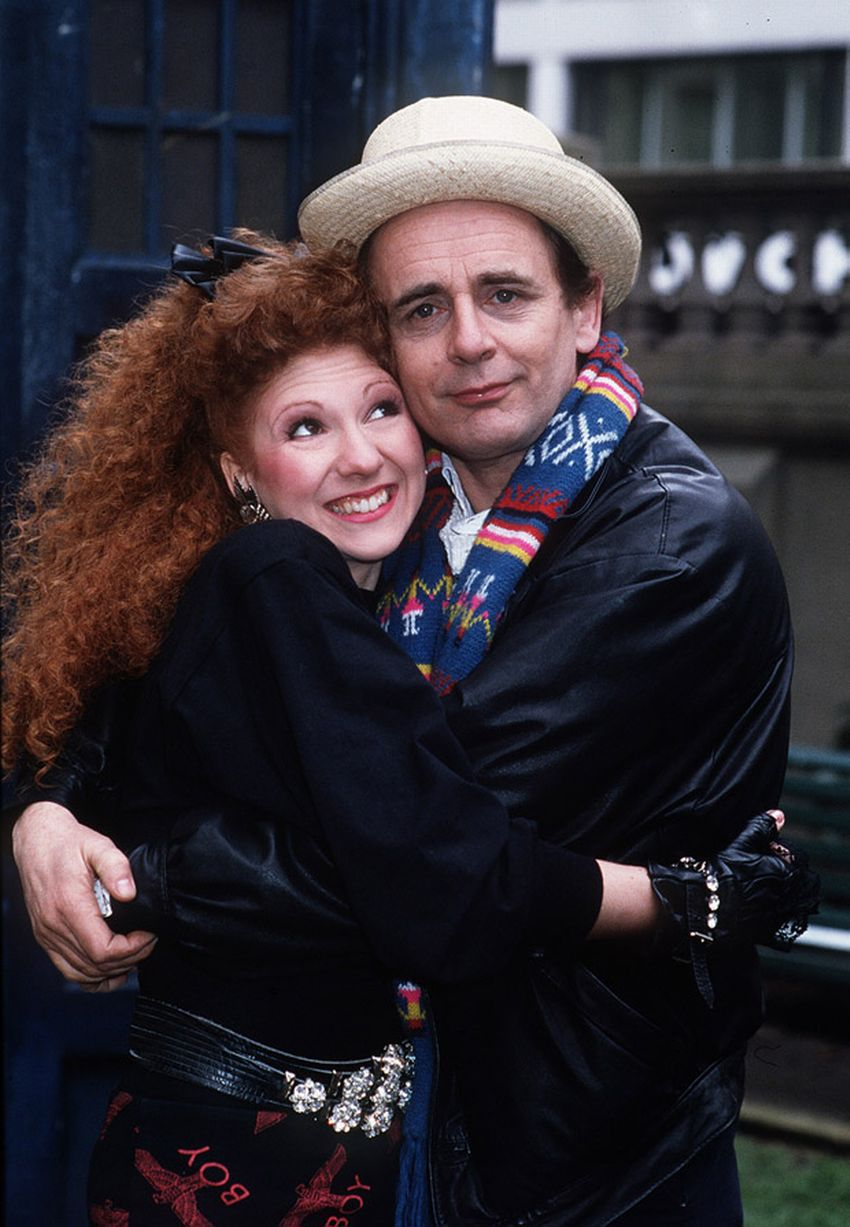 Sylvester McCoy as the seventh Doctor Who with his companion Mel played by Bonnie Langford 1987 a.jpg
