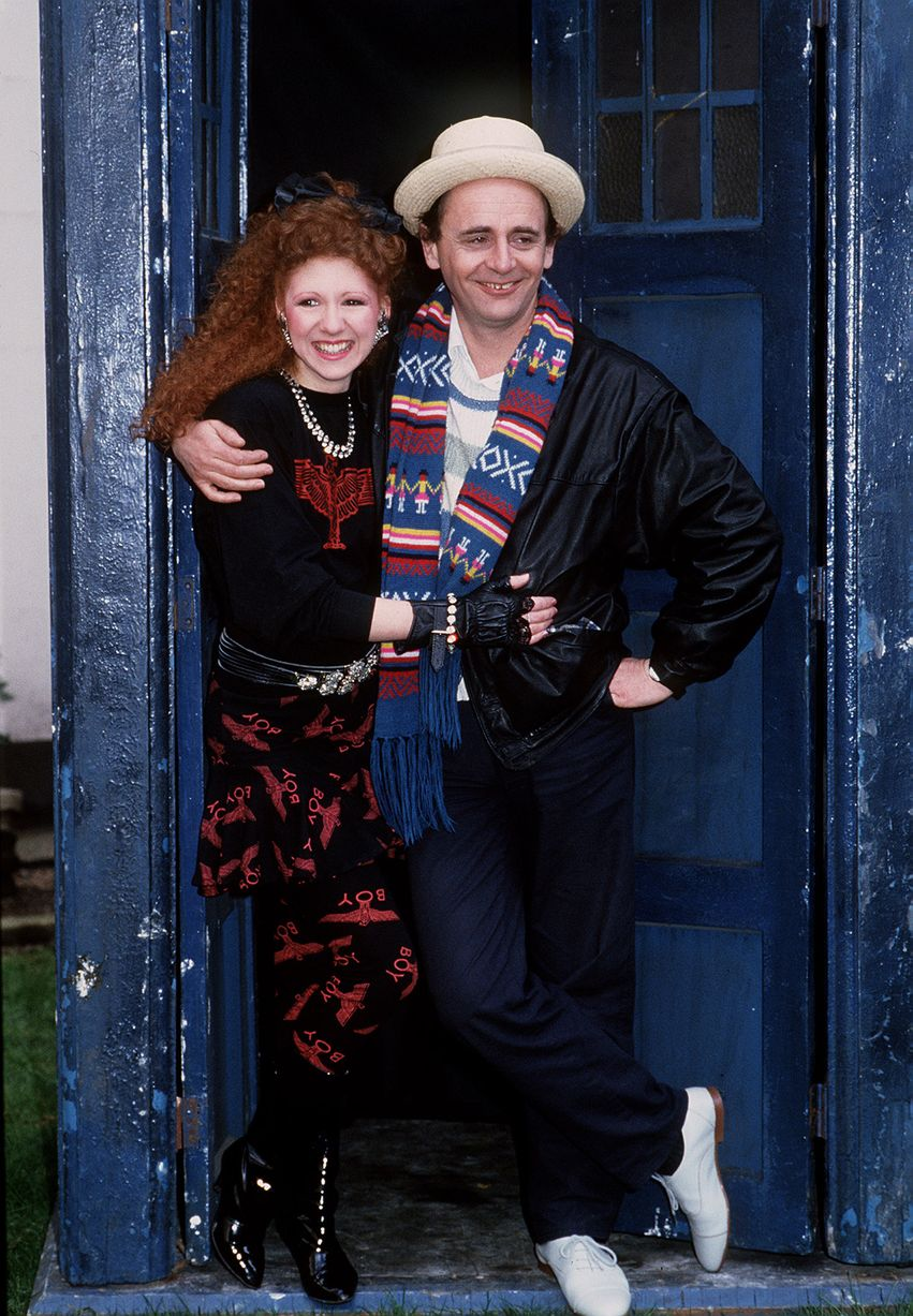 Sylvester McCoy as the seventh Doctor Who with his companion Mel played by Bonnie Langford 1987.jpg
